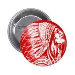 Vintage Retro Kitsch 40s Travel Indian Chief Head 2 Inch Round Button