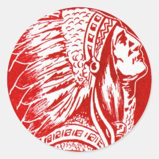 Vintage Retro Kitsch 40s Travel Indian Chief Head Classic Round Sticker