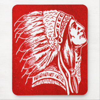 Vintage Retro Kitsch 40s Travel Indian Chief Head Mouse Pad