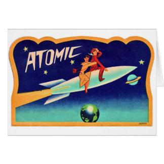 Vintage Retro Kitsch 50s Atomic Rocket to The Star Card