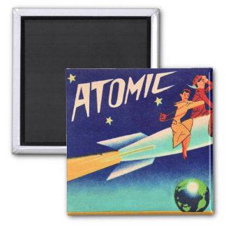 Vintage Retro Kitsch 50s Atomic Rocket to The Star Magnet