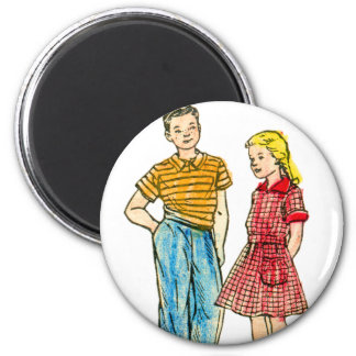Vintage Retro Kitsch 50s Kids Coloring Book Art 2 Inch Round Magnet