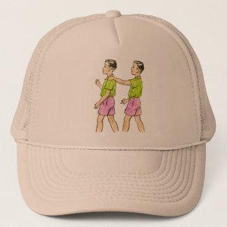 Vintage Retro Kitsch 50s Kids Coloring Book Art Trucker Hat