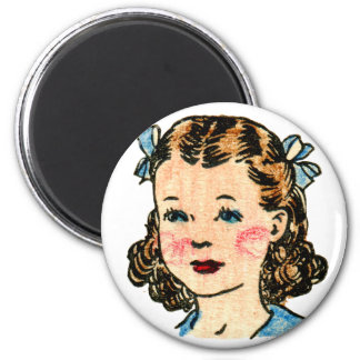 Vintage Retro Kitsch 50s Kids Coloring Book Girl 2 Inch Round Magnet