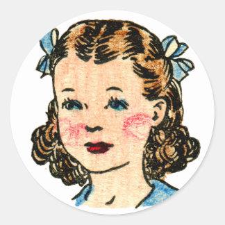 Vintage Retro Kitsch 50s Kids Coloring Book Girl Classic Round Sticker