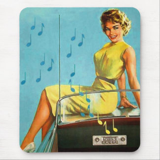 Vintage Retro Kitsch 50s Rock and Roll Radio Mouse Pad