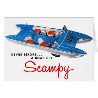 Vintage Retro Kitsch 50s Scampy Auto and Boat Greeting Card