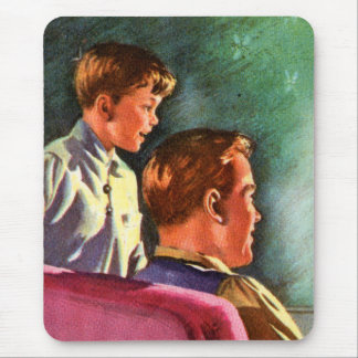 Vintage Retro Kitsch 50s School Book Dad Son Glow Mouse Pad