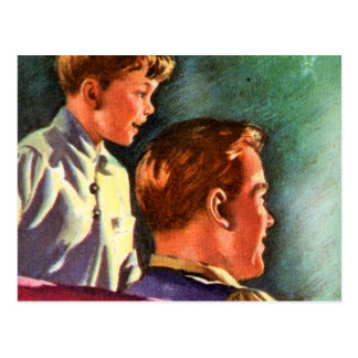 Vintage Retro Kitsch 50s School Book Dad Son Glow Postcard