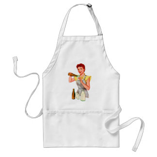 Vintage Retro Kitsch 50s Soda Root Beer and Milk Adult Apron