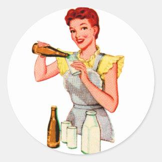 Vintage Retro Kitsch 50s Soda Root Beer and Milk Classic Round Sticker