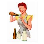 Vintage Retro Kitsch 50s Soda Root Beer and Milk Postcard