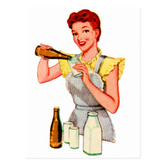 Vintage Retro Kitsch 50s Soda Root Beer and Milk Postcard