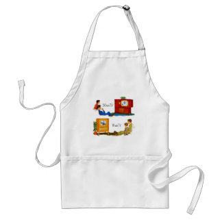 """Vintage Retro Kitsch 50s TV Sets 19"""" and 16"""" Adult Apron"""