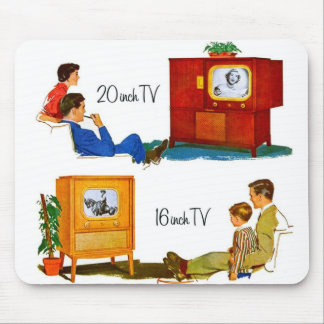 """Vintage Retro Kitsch 50s TV Sets 19"""" and 16"""" Mouse Pad"""