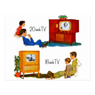 "Vintage Retro Kitsch 50s TV Sets 19"" and 16"" Postcard"