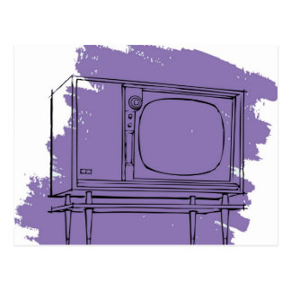 Vintage Retro Kitsch 50s TV Television Set Postcard