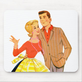 Vintage Retro Kitsch 60s Marriage Newlywed Couple Mouse Pad