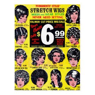 Vintage Retro Kitsch 60s Strech Wigs $6.99 Ad Postcard