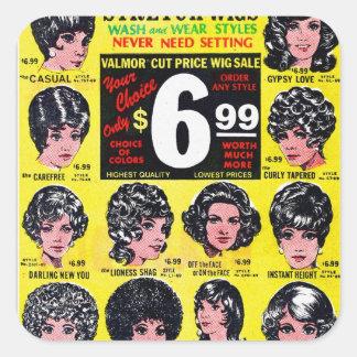 Vintage Retro Kitsch 60s Strech Wigs $6.99 Ad Square Sticker