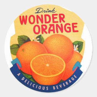 Vintage Retro Kitsch Ad Advert Wonder Orange Classic Round Sticker