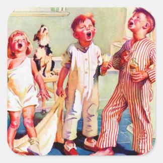 Vintage Retro Kitsch Ad Gargling Kids Square Sticker