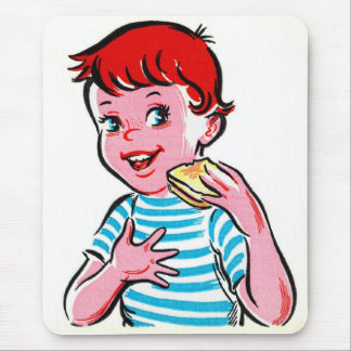 Vintage Retro Kitsch Ad Kid Grilled Cheese Mouse Pad