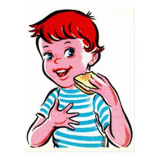 Vintage Retro Kitsch Ad Kid Grilled Cheese Postcard