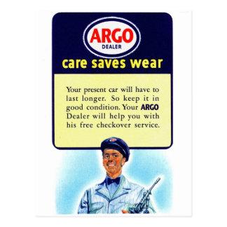 Vintage Retro Kitsch Argo Gas Service Station Ad Postcard