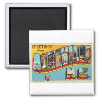 Vintage Retro Kitsch Asheville Big Letter Postcard 2 Inch Square Magnet