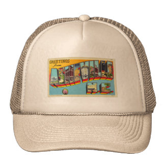 Vintage Retro Kitsch Asheville Big Letter Postcard Trucker Hat