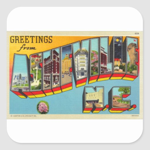 Vintage Retro Kitsch Asheville Big Letter Postcard Sticker