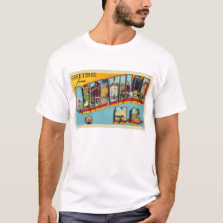 Vintage Retro Kitsch Asheville Big Letter Postcard T-Shirt