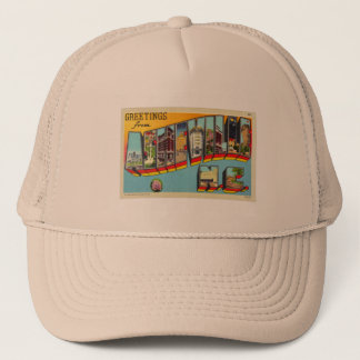 Vintage Retro Kitsch Asheville Big Letter Postcard Trucker Hat