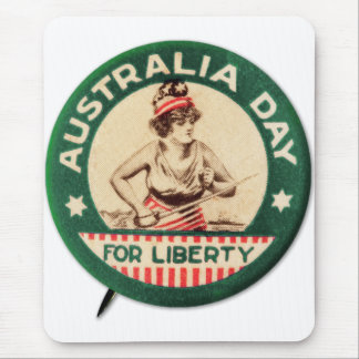 Vintage Retro Kitsch Australia Day Liberty Pin Mouse Pad