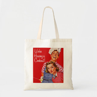 Vintage Retro Kitsch BBQ Barbecue Having a Cookout Budget Tote Bag