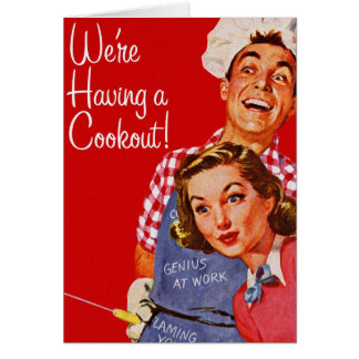 Vintage Retro Kitsch BBQ Barbecue Having a Cookout Card