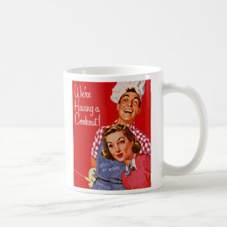 Vintage Retro Kitsch BBQ Barbecue Having a Cookout Coffee Mug