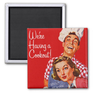 Vintage Retro Kitsch BBQ Barbecue Having a Cookout Refrigerator Magnet