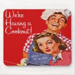 Vintage Retro Kitsch BBQ Barbecue Having a Cookout Mouse Pads