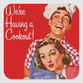 Vintage Retro Kitsch BBQ Barbecue Having a Cookout Square Sticker