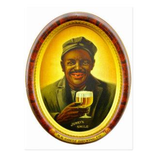 Vintage Retro Kitsch Beer Ad Jerry's Smile Goetz Postcard