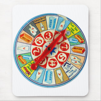 Vintage Retro Kitsch Board Game Spinning Wheel Mouse Pad