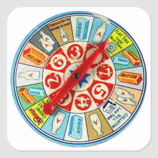Vintage Retro Kitsch Board Game Spinning Wheel Square Sticker
