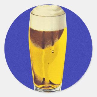 Vintage Retro Kitsch Brewery Beer Bier Glass Classic Round Sticker