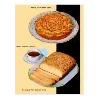 Vintage Retro Kitsch Cake Apple Rose Form Postcard