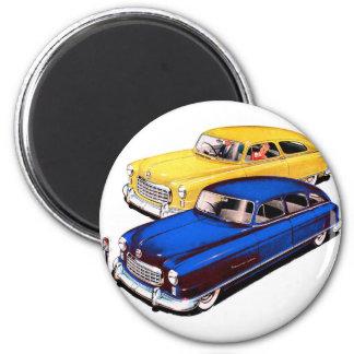 Vintage Retro Kitsch Car Nash Ambassador Art 2 Inch Round Magnet