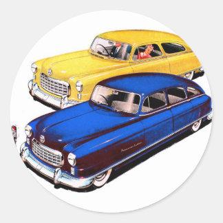 Vintage Retro Kitsch Car Nash Ambassador Art Classic Round Sticker