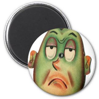 Vintage Retro Kitsch Cartoon Head Green With Envy Magnet