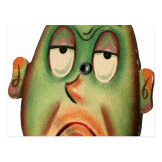 Vintage Retro Kitsch Cartoon Head Green With Envy Postcard